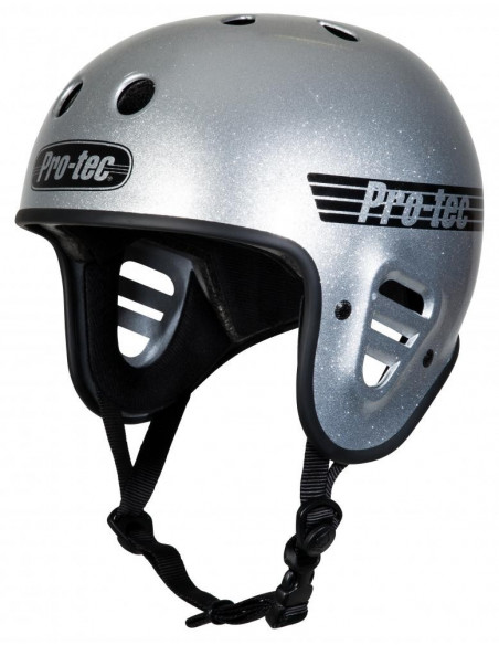 pro-tec full cut helmet silver flake