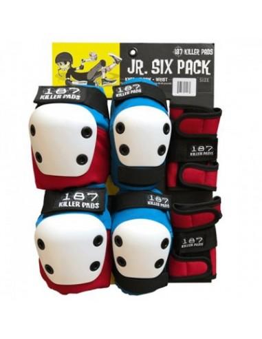 187 six pack junior red-white-blue | junior pads