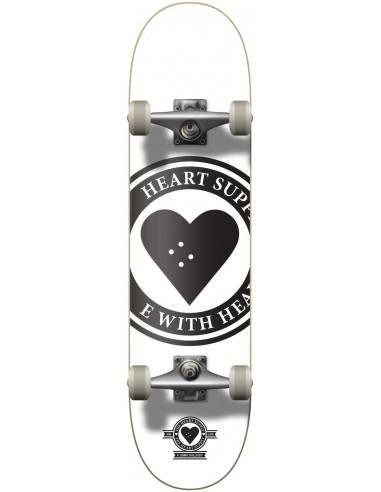 """heart supply logo 8.25"""" badge white - complete skate"""