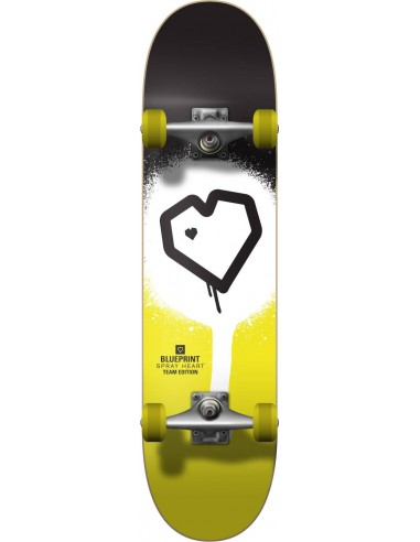 "blueprint spray heart v2 7.25"" black-yellow | complete skateboard"