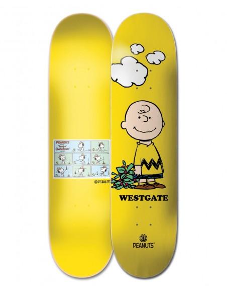 """element skate deck 8"""" peanuts charlie brown x wes"""